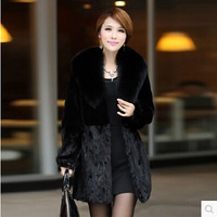 2014 Winter Women's Cashmere Long Faux Fur Collar Thicken Mink Fur Coat Plus Size S-3XL Overcoat