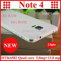 "New arrive Perfect 1:1 HDC Note 4 Mobile phone 16GB ROM 3GB RAM MTK6592 Octa Core Note4 Smart Phone 5.7"" 2560*1440 13MP camera"