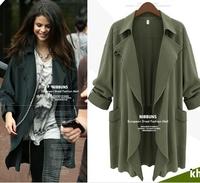 Wholesale fashion 2xl 3xl 4xl 5xl plus size women clothings desigual casual loose 2014 autumn winter trench coats over size ZA