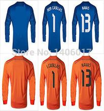 Real Madrid 2015 Long Sleeve Goalkeeper Jersey #1 IKER CASILLAS #13 NAVAS LS Cheap Soccer Uniforms Football real madrid 14 15(China (Mainland))