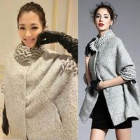 2014 Top Hot Women Fashion Batwing Cape Trench, High Collar Winter Warm Wool Blends Poncho Jacket Cloak Female Coat Outwear SML