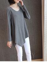 new arrival 2014 autumn women fashion joker chiffon lacing tops irregular hem casual loose long paragraph shirt clothing