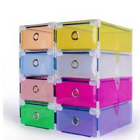 Metal-edged Drawer Type Plastic Storage Shoe Box Transparent Shoebox Shoe Box