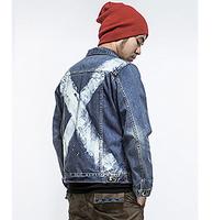 HardlyEvers Japanese fashion stitching hit color ink male jacket denim shirt denim jacket
