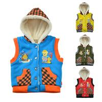 New Top Quality Autumn Winter Baby Boys Girls Vest Kids Cotton Waistcoat Casual Warm Hooded Vest Warm Coat