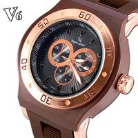 2014 NEW Wholesale Men wristwatches V6 fashion Silicone strap quartz watch sports watches men