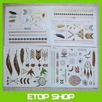 Free Shipping 12pcs/lot SHEEBANI flash tattoos metallic tattoos 2014 promotional body golden tattoo sticker