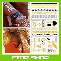 Free Shipping 4pcs/set GOLDFISH KISS H20 flash tattoos metallic tattoos gold foil tattoos body golden tattoo sticker