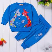 Top Brand Cotton Baby Boys Girls Autumn Cartoon Suits Sweatshirt Trousers Kids Infants Casual Hoodies Set Children Clothing Suit
