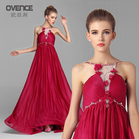 2014 Summer Fall European Brand New Style Suspenders Long Evening Dress Chiffon Dress Quality Celebrity Red Long Dress