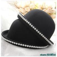 Ladies pearl round cap hat woolen hat atumn cap