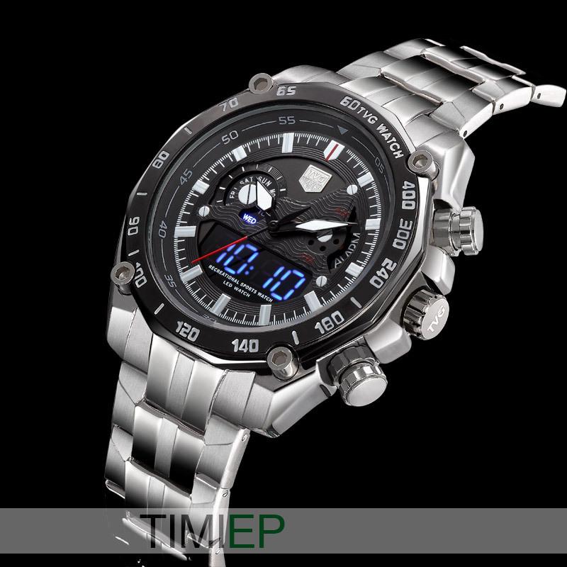 TVG Multifunctional Sports steel Quartz Military Army tritium luminous LED Pointer Water 100M Men Submarine wristwatch(China (Mainland))