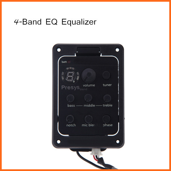 4-Band EQ Equalizer Acoustic Guitar Preamp Piezo Pickup Guitar Tuner with Mic Beat Board 301 Guitar EqualizerTop Quality(China (Mainland))