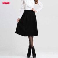 Female New winter skirts black dark blue long skirts woolen skirt A-line skirt