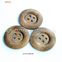 (40pcs/lot) 4Holes Wide Edge Plain Large Wooden Buttons Bulk Supplies Sewing Hat Scrafs Coat 50mm Button-BG0162