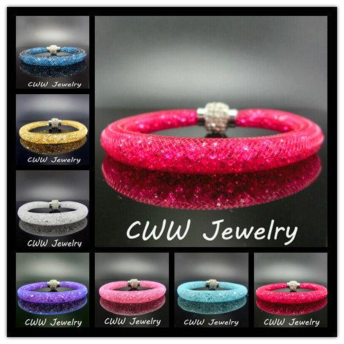 Wholesale Handmade Wristband New Fashion Stardust Crystal Rhinestone Women Charm Bracelets Bangles With Magnetic Clasp (CB079)(China (Mainland))
