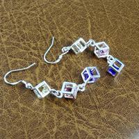 silver earrings jewelry square crystal earrings Korea earrings wholesale trade  TT553 B5
