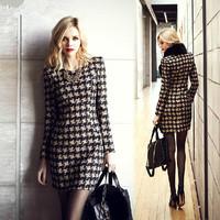 dresses new 2014 women autumn dress long-sleeve printed plaid cashmere render dress fashion girl casual dress loose winter dress