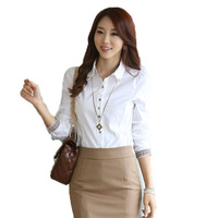 New Best-Selling Fashion Women's Clothing Cotton Solid Color Slim Lapel Long-Sleeved Shirt Beaded Women's Career Yards Blouse