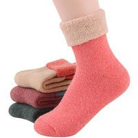 Free Shipping 2014 Winter socks cashmere women's wool socks thermal thicken winter socks towel hemming warm socks 2 pairs
