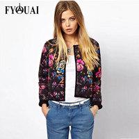 FYOUAI European Style Autumn Winter Jacket Women New 2014 Fashion Slim Casual Print Cotton Jacket Outdoor Coat