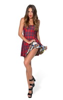 VOLFOUR 2014 New Black Milk Woman Fashion Dress Sexy Party Dress TARTAN RED VS CATHEDRAL INSIDE OUT DRESS FREE SHIPPING