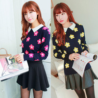 2014 Autumn And Winter Women Lovely Flowers Sweet Doll Pullover Girl's Slim Sweater Long Sleeve Sweater Bottoming Coat
