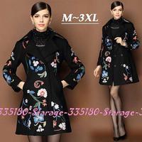 M-XXXL Brand Luxury Ladies Flower Embroidery Winter Woolen Coat Women Plus Size Black Double-breasted Wool Outerwear 9913