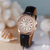 Newest Ladies Elegant Bracelet Watch Black Leather Strap Crystal Quartz Watches Women Fashion Rhinestone Watch Dropship