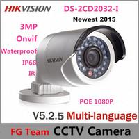 Free Shipping 10pcs/lot Multi-language Ver. V5.2.0 DS-2CD2032-I 3MP Bullet Camera Full HD 1080P POE Network Hikvision IP Camera