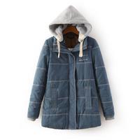 2014 winter woman brief casual warm padded hoodie coat full sleeve zipper closure slim fit hooded parkas jacket 5 colors 202903