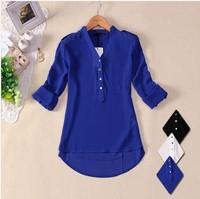 2014 Plus Size Women's White Blue Black Chiffon Blouse Camisas Blusas Femininas Ladies Summer Long Sleeve Sheer Shirt Tops