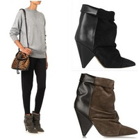 REAL PHOTO!New Product Spike Heels Andrew Leather Suede Ankle Boots Fashion Mid Heel Front Panel Calfskin Leather Boots