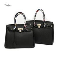 Brand Designer Celebrity H Shoulder Bags Women Classic Litchi Stria Artificial Leather Tote Handbag With Ribbon Padlock F0001