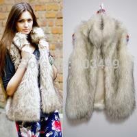 Fashion Plaid Leather grass faux fur coat long coat collar fur vest