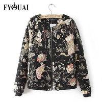 FYOUAI Vintage Cotton Coat Padded European Style print Winter Jacket Women New 2014 Cotton Outdoor Overcoat