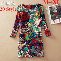 2014 Vintage Long Sleeve Floral Print Women Dress Autumn Winter Casual One-Piece Female Poket Dresses vestidos longos D333A3W