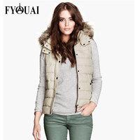 FYOUAI New Fashion Women Vest Big Fur Collar Casual Slim Cotton Winter Coat Women Outdoor Warmth Waistcoat For Women