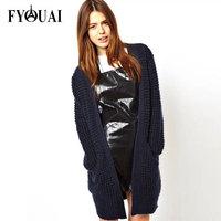 FYOUAI British Style Women Sweater Autumn Spring Casual Loose Wool Cardigans Women Big Pocket Solid Knitwear