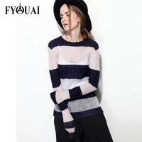 FYOUAI New Arrivals 2014 Women Sweater Fashion Design Slit Knitwear For Women Casual Loose Stripe Pullover Sweater