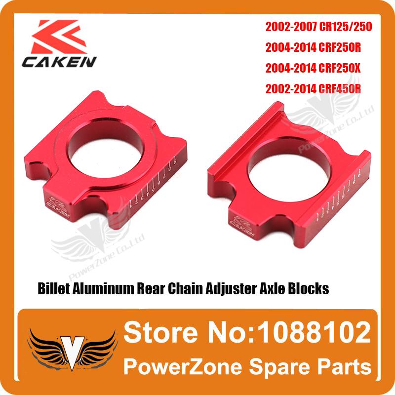 CR 125 250R CRF 250R 250X 450R 450X Billet Aluminum Rear Chain Adjuster Axle Blocks Fit CRF Motorcross Dirt Bike Free Shipping(China (Mainland))