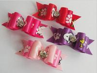 hair band butterfly  bow fabric cloth pet hairpin,pet hair clip dog puppy teddy hair pin,