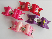 hair band butterfly  bow fabric cloth pet hairpin,pet hair clip dog puppy teddy hair pin,cat kitty hair pin whole sale