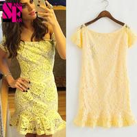 2014 High Quality New Arrival Women Yellow Lace Elegant Evening Dress Rose Mini Dress Sleeveless Sexy Yellow Dresses Vestidos