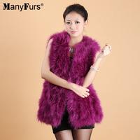 2014 Winter Elegant Natural Ostrich Fur Women Vest Warm Long Style Pure Color Ladies Furs Vests 17 colors