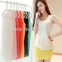 2014 Fashion tank top Summer Women Clothing Chiffon Sleeveless Woman Blouse Candy Color Causal Chiffon Blouses Shirt Women Tops