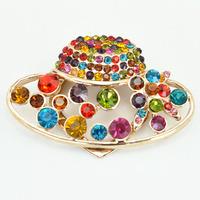 Colorful Crystal Rhinestone Ladies Silk Hat Brooch