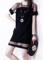 Office Dress New Arrival The 2014 Code Looking For Female Summer New Yarn Stitching Chiffon Short Sleeved Dress Slim Hip Package
