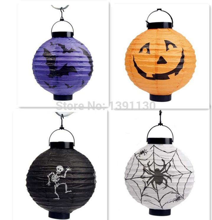 4pcs/lot hot sale AllHallowEve halloween decoration paper LED pampkin scaldfish night light free shipping battery use(China (Mainland))