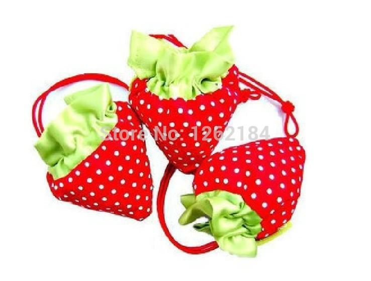 3pcs/lot fashion reusable shopping bags strawberry folding large shoulder bag color random delivery,wholesale #G-016(China (Mainland))